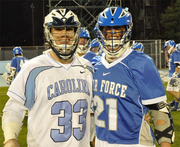 UNC's Ryan Creeighton (left) and Air Force's Keith Dreyer, former Malvern Prep teammates, squared off in Friday's opener