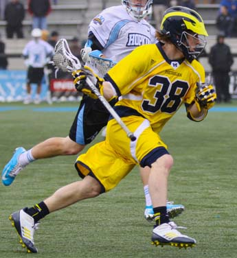 Michigan freshman midfielder Dan Kinek (Emmaus) had a goal in the defeat (Photo by Rene Schleicher)