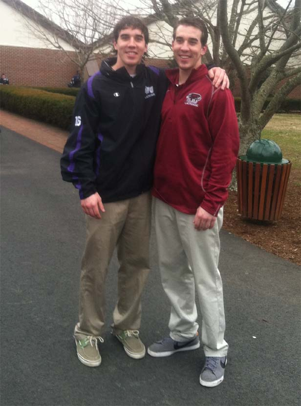 TWIN FUN - High Point sophomore Pat Farrell (left) and twin brother Will of St. Joe's squared off in Saturday's contest. The Hawks won, 8-5, as broth twins started on defense.