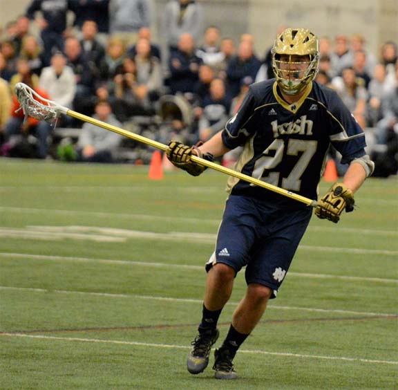 Notre Dame defenseman Tyler Andersen (Radnor) and the irish claimed a thrilling 10-9 win over Penn State on Sunday (Photos for Phillylacrosse.com)