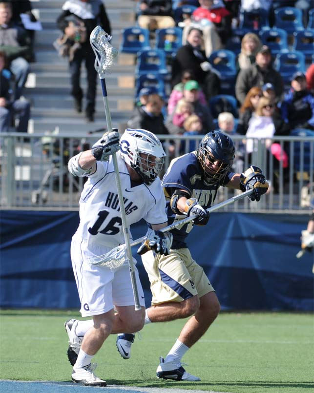 Georgetown LSM Tyler Knarr, a La Salle grad, won 13 of 19 face-offs and scooped an amazing 12 groundballs in Georgetown's 9-8 OT win Sunday (Photo by Tim Flatley)