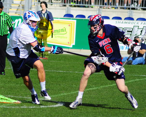 Penn's Chris Hupfeldt (Haverford School) is defended during Saturday's win over Villanova (Photo by Charlie Bagent)