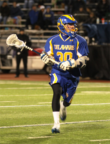 Blue Hen freshman Connor Frisina (Conestoga) scored once (Photo by Rene Schleicher)