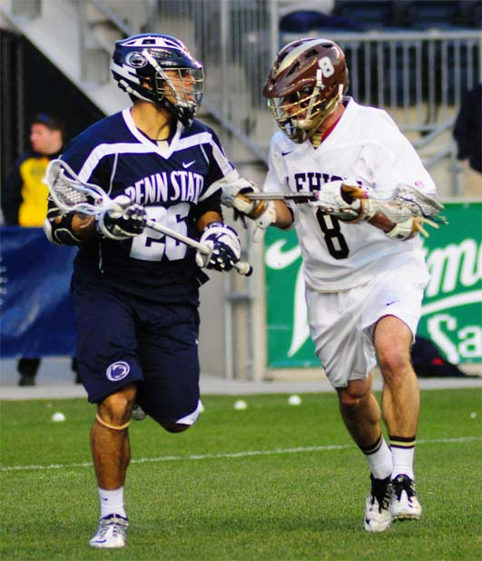 Lehigh's Derek Bogorowski (La Salle, right) defends PSU's Danny Henneghan