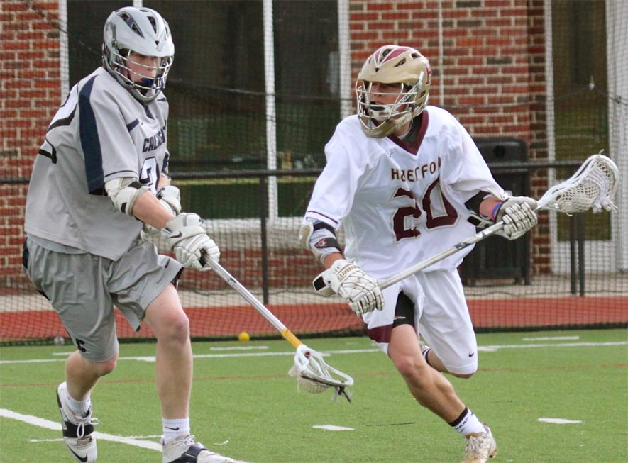 Haverford School's Grant Ament (right), who had two goals and four assists, heads to the goal vs. Calverton in Thursday's 17-6 win. (Photo for Phillylacrosse.com)