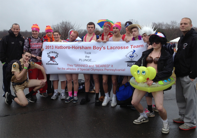 Hatboro-Horsham's boys' lacrosse team raised nearly $2000 for the Special Olympics at the Polar Plunge