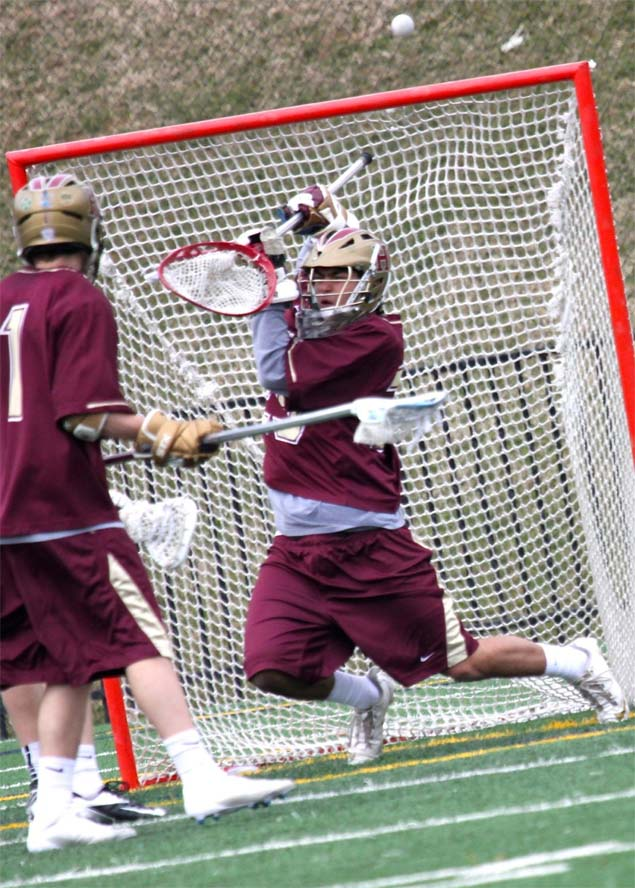 Haverford School goalie Jake Landman makes a big save