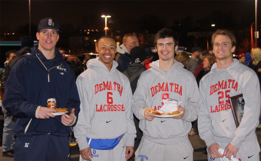 Future Navy players from Fallen Heroes game: Navy commits George Uhrich (La Salle, '13), Greyson Torain (DeMatha, '13), Nick Ramsey (DeMatha '14), Garrett Hasken (DeMatha, '13) meet up after Saturday's game at Catholic Univ.