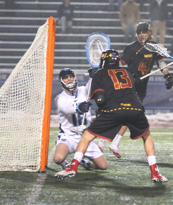 Maryland's Owen Blye (Downingtown East, 13) scores during Saturday's contest (Photo by Rene Schleicher)