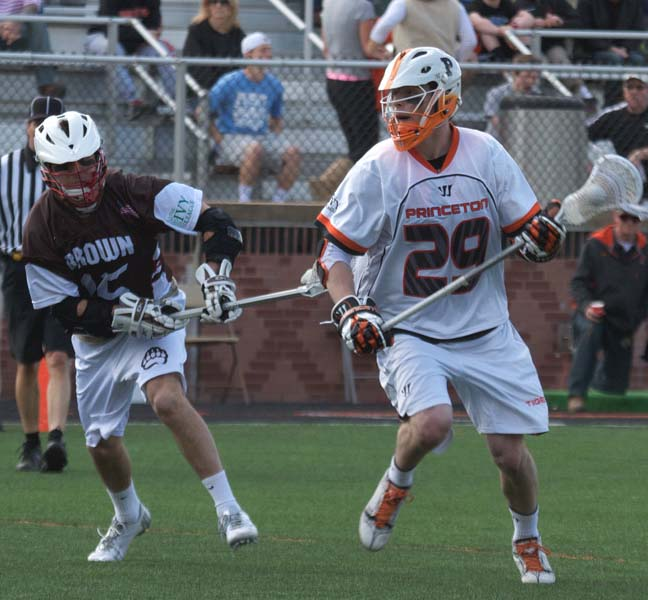 Chris White (right) had a goal and assist in Princeton's 15-8 win over Brown. (Photo by Larry Drexler)