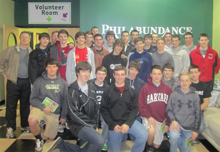 The Strath Haven boys' lacrosse team volunteered again at Philabundance