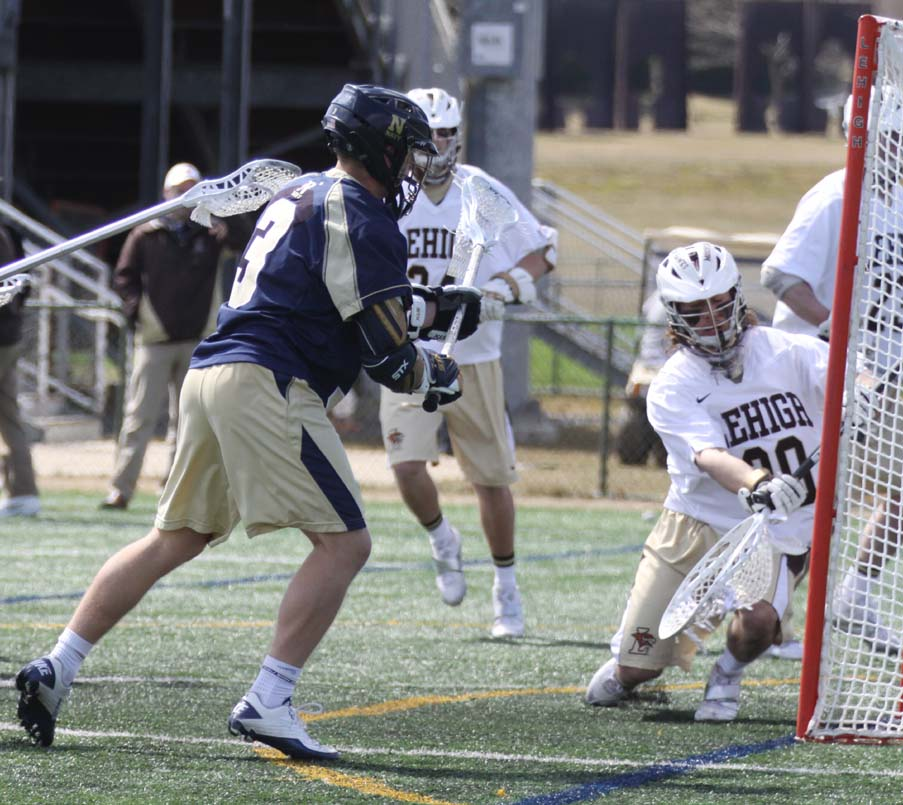 Navy's T.J. Hanzsche (Malvern Prep) scores for the Mids in their loss to Lehigh (Photo by Rene Schleicher)