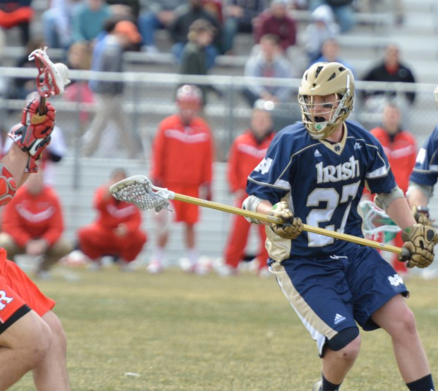 Notre dame LSM Tyler Andersen (Radnor) defends (Photo for Phillylacrosse.com)