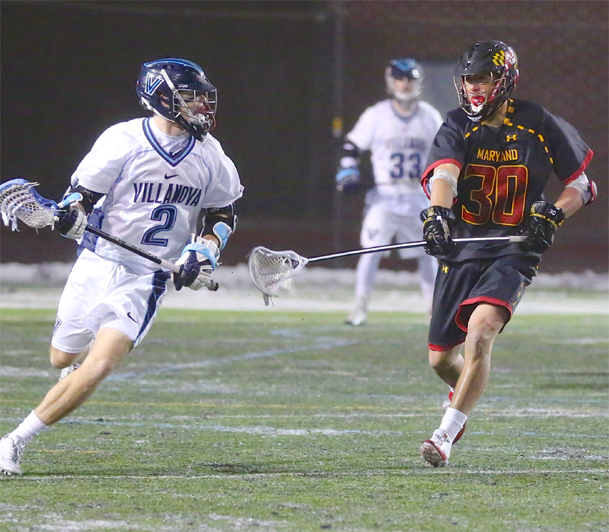 Villanova's Jack Rice (2) is defended by Maryland's Casey Ikeda (Conestoga) (Photo by Rene Schleicher)