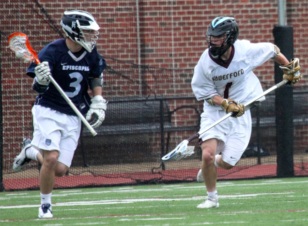 Episcopal Academy's Ian Strain (left) is defended by Connor Black. Strain scored two goals (Photo for Phillylacrosse.com)