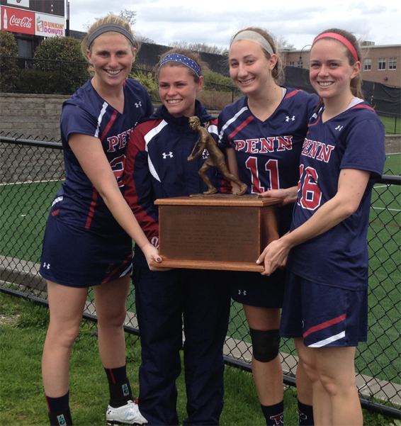Penn seniors celebrate the Ivy League championship trophy