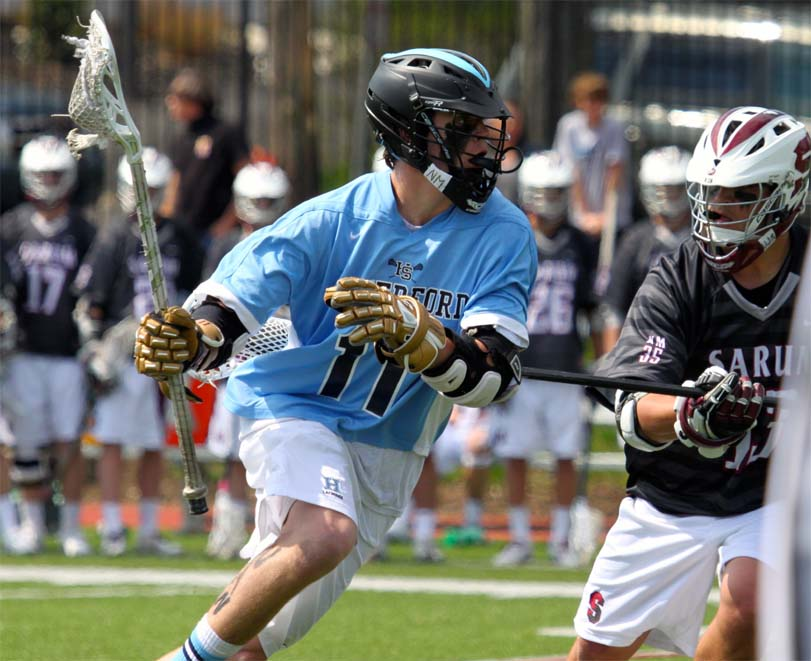 Haverford School's Peter Blynn heads toward the goal during Saturday's win (Photo for Phillylacrosse.com)