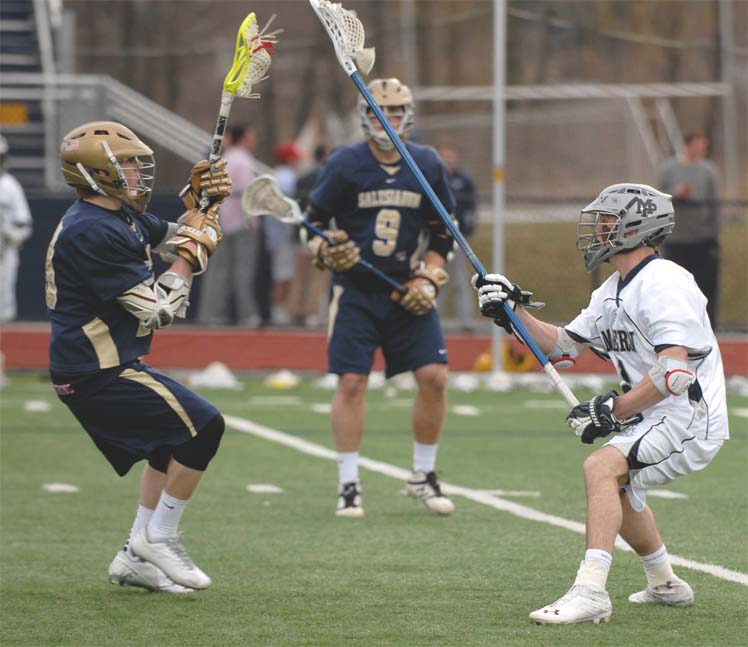 Malvern Prep's Chad Rafferty defends Salesianum School's Sean Giampietro
