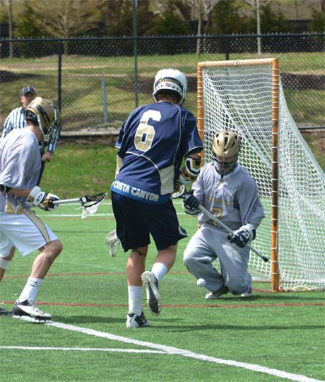 Penn Charter goalie Sean KcKee makes a save during Saturday's loss (Photo for Phillylacrosse.com)