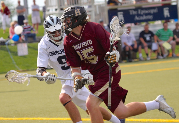 Haverford School's Brendan O'Neill (three goals) is defended by Episcopal Academy's Adam Strauss in Friday's 11-6 victory by the Fords (Photo for Phillylacrosse.com)