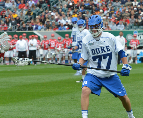 Duke's Henry Lobb had four groundballs for the Blue Devils (Photo for Phillylacrosse.com)