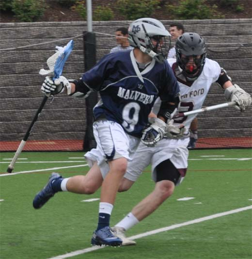 Malvern Prep's Joe Dunn heads downfield during Tuesday's win (Photo for Phillylacrosse.com)