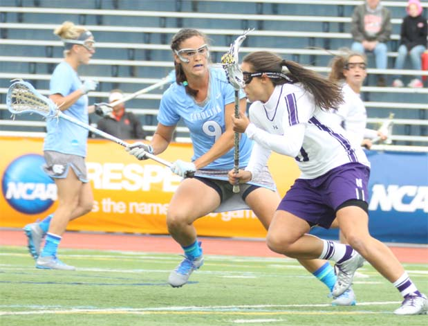 North Carolina defender Margaret Corzel (Merion Mercy) defends during the Tar Helss' 11-4 semifinal win over Northwestern Friday at Villanova.
