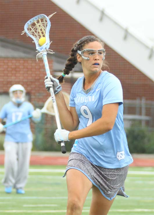 UNC defender Margaret Corzel (Merion Mercy) helped the Tar Heels stun Northwestern, 11-4, on Friday (Photo by Rene Schleicher)