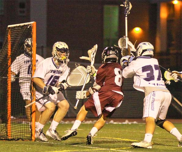 Matt Schleicher scores one of his three goals for the Pioneers (Photo for Phillylacrosse.com)