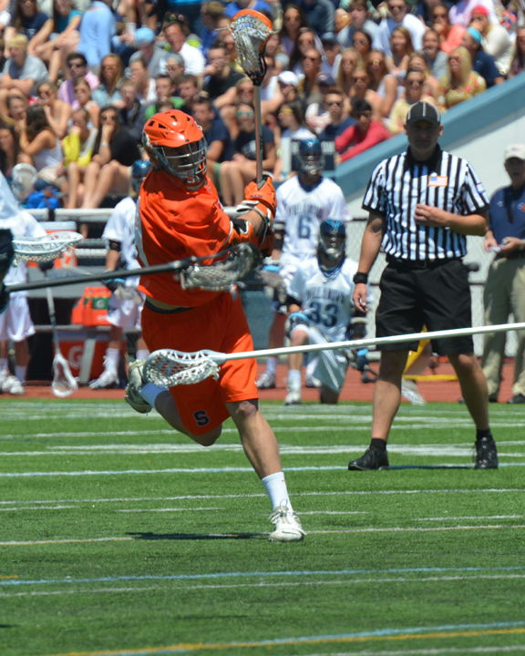 Haverford School grad Matt Walters fires in a clutch goal for the Orange in their 13-9 Big East championship win over Villanova (Photo for Phillylacrosse.com)
