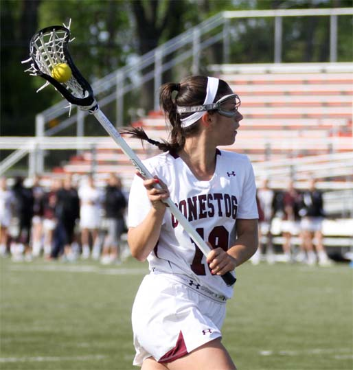 Conestoga's Meghan McGillis had four goals and five assists to lead the Pioneers' victory (Phoot by Rene Schleicher)