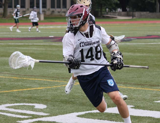Radnor rising sophomore defenseman Dario Falcone is seen here in Tuesday's Philly Boys' Showcase Camp title game