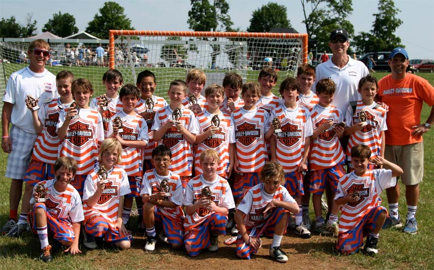 Team Harley U11 Liberty Tournament Champions - Front Row (from left), Drew Cox, Carson Smith, Lyric Gibson, Giles Elliot, Chris Begier, Robert Hobbs; Middle Row, Pup Buono, Luke Kelly, Damien Ramondo, Scott Belveal, Jake Bynum, Ryan Hornbaker, Teddy Anderson, Casey Ott, Thomas Hannum; Top Row - Coach Tommy Hannum, Charlie Bernicker, Colby Kim, Matthew Rosato, Max Strid, Owen Lewandowski, Aiden Welsh, Coach John Begier, Coach Damien Ramondo. Not Pictured: Jack Murphy, Chris O'Grady