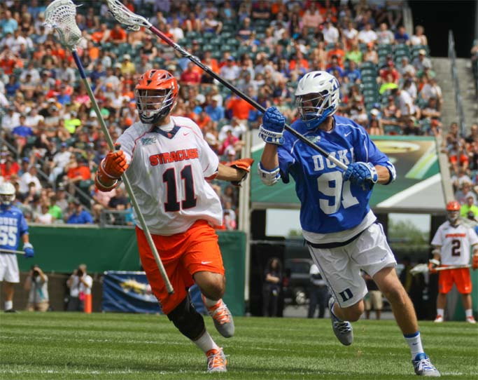 Syracuse's Brian Megill defended by Duke's Luke Duprey