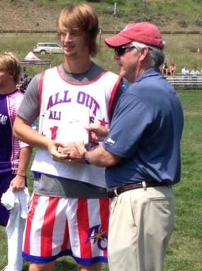 Bobby Tait is awarded the Defensive MVP at the 41st Vail Shootout in the Men's Elite Division