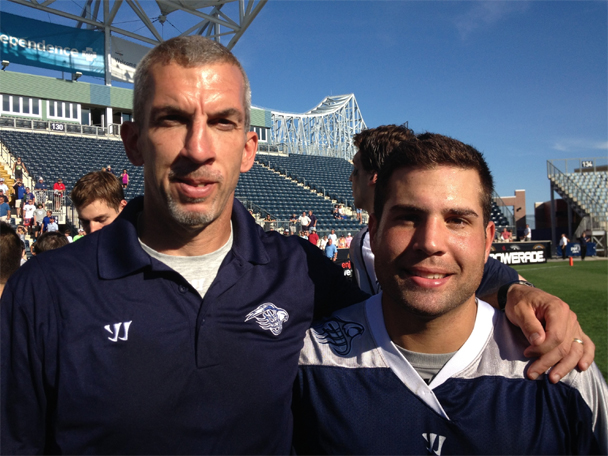 Chesapeake Bayhawks assisatnt coach Tony Resch (La Salle assistant) and Mat Mackrides (amlvern Prep, Penn State) soak up the aftermath of the MLL championship