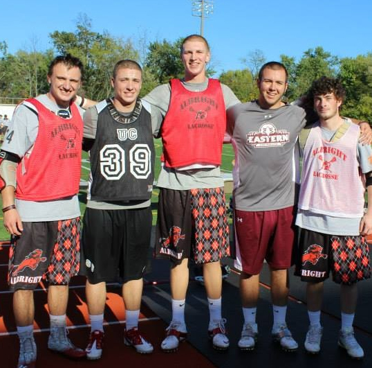 HATBORO-HORSHAM HOMECOMING - Former Hatters (from left) Ryan Higgins, Steve Palo, TJ Keleher, Tyler Gelhaus, Jimmy Durkin gather together at the Edward T. Coombs Shoot Out