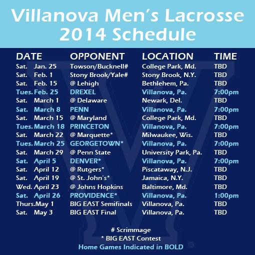 Villanova schedule
