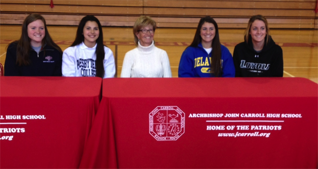 From the left:  Morgan Keruly, Sophia Cuzzupe, Coach Lorraine Beers, Megan Santoleri, Margaret Filippelli