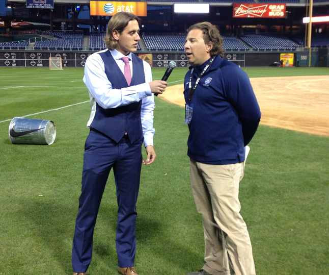 NXTsports President Andy Hayes (right) is interviewed by Showcase Lacrosse Director Brett Manney during Friday night's Philly Charity Showdown at Citizens Bank Park