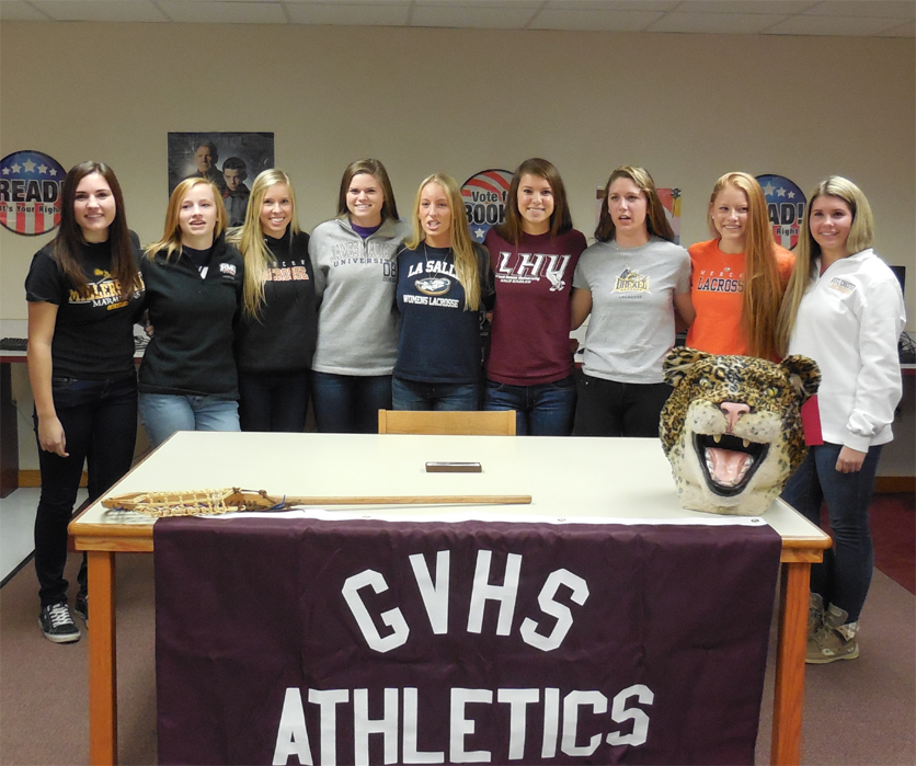 Together, GVHS Head Coach Jennifer Purvis and new athletic director Seth Brunner announced the following players (pictured left to right) will play at the next level. Sabrina Fusco (Millersville University); Dana Davis (Robert Morris University) Erica Coyne (Mercer University); Haley Warden (James Madison University) Katie Stec (La Salle University); Dana Laulis (Lock Haven University) Molly Savage (Drexel University); Nova Ward (Mercer University) Paige Mitros (West Chester University)