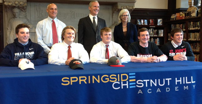 Back Row Left to Right: Coach Mike DelGrande, Co-Head of Upper School Frank Steel, Co-Head of Upper School Priscilla Sands Signees Left to Right: Sean Delaney (Lacrosse), Jackson Kleintz (Lacrosse), Zach Jancarski (Baseball), Tom Hogan(Lacrosse), Kyle Lawlor (Lacrosse)