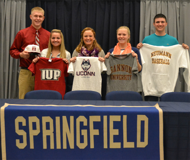 Springfield-Montco signing (from left) - Marten Pauwels, Riley Greenleaf, Julie Cardamone, Marie Brockman, Jeffrey Hammons