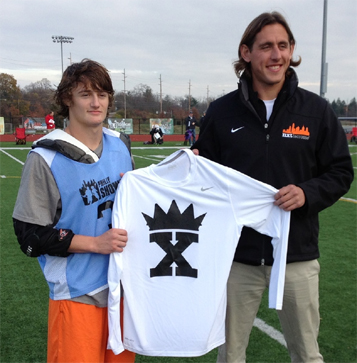 Centennial/LB3 Atlanta 2015 Zach Levy accepts King of the X t-shirt from NXTsports' Brett Manney after winning the title at the Philly Showcase on Saturday
