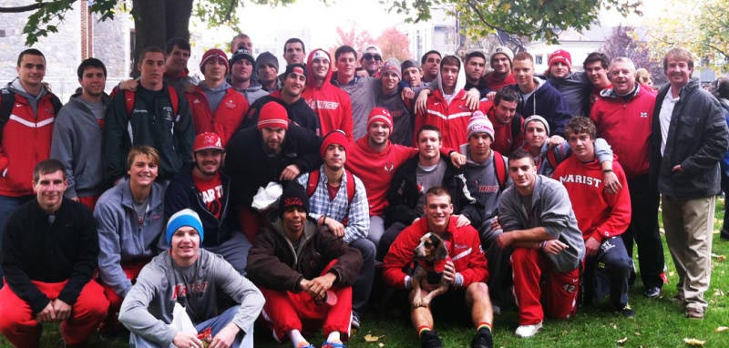 The Marist men's lacrosse team has continued to support the Edward T. Coombs Foundation. Coach Keegan Wilkinson is at right (Courtesy of Marist Sports information)