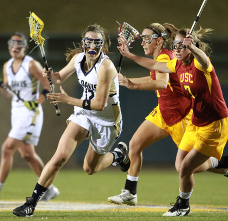 UC Davis' Elizabeth Landry, seen here during the 2013 season, and her Aggies pulled off the Upset of the Year as voted on in Lacrosse Magazine