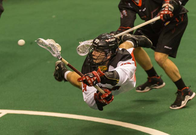 Wings' Garrett Thul dives toward the goal in Saturday's 15-9 win over Vancouver (Photo courtesy of Philadelphia Wings)