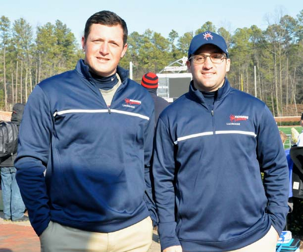 Former Philly and college stars (from left) Mason Poli (Downingtown East, Bryant) and Steve Layne (Malvern Prep, Loyola) are first-year assistant coaches at Richmond, which nearly pulled off a major upset Saturday in a one-goal loss to Virginia in its program debut at home.