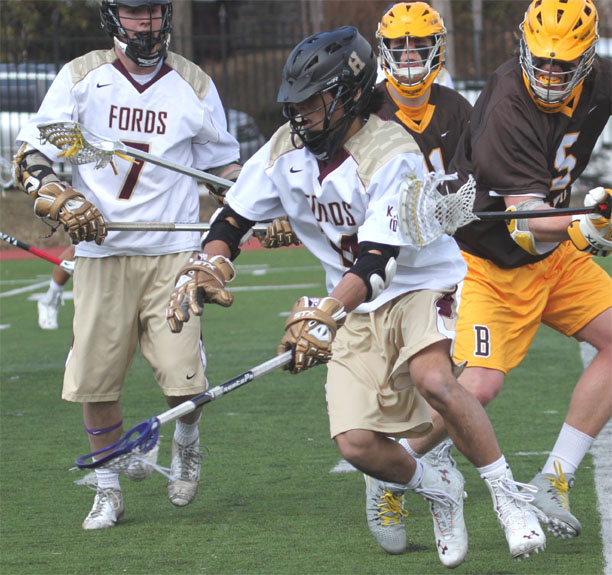 Haverford School's Brandon Shima scoops a groundball during Saturday's win (Photo for Phillylacrosse.com)
