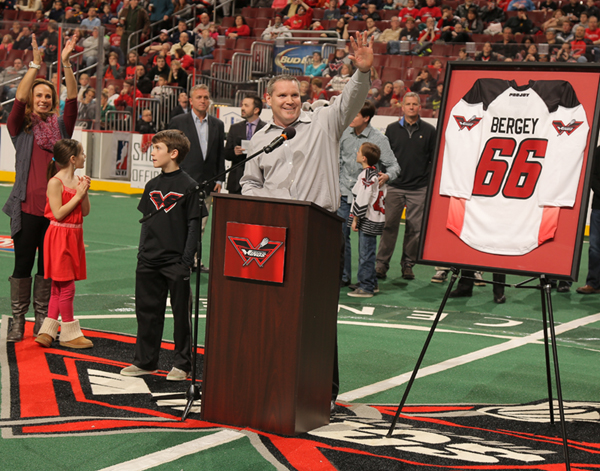 Wing favoite Jakr bergey had his jersey No. 66 retired atr a recent NLL game 9Todd Bauders/ContrastPhotography.com)
